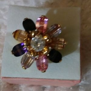 Beautiful Gold Plated Multicolored Gems Ring